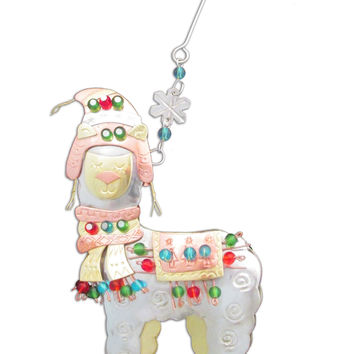 Whimsical Christmas Alpaca Ornament