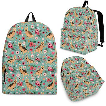 German Shepherd Flower Backpack