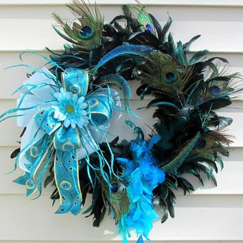 Peacock feather wreath, peacock wedding, turquoise wreath, aqua wreath, peacock decor, peacock colors, all year wreath, country cottage