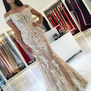 Off Shoulder Applique Mermaid Lace Prom Dresses Evening Dresses