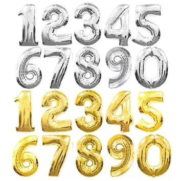 inches large Silver Number Balloons Digit Ballons Birthday Party Wedding Decor Baloons Event Party Supplies