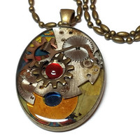 Steam Punk, Watch Part Pendant Necklace, Watch Part Jewelry