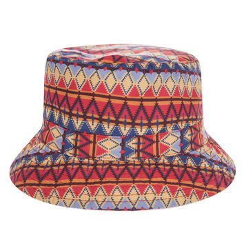 Vintage Aztec Peruvian Textile Adult Unisex Red & Blue Casual Summer Beach Flat Bucket Hat