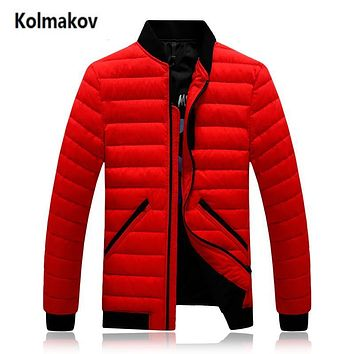 KOLMAKOV 2017 new winter men's fashion stand collar keep warm down jacket,70% white duck down coats men,full size M-3XL.