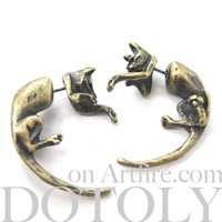 3D Kitty Cat Animal Pet Fake Gauge Stud Piercing Earrings in Bronze