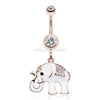 Rose Gold Maharajas Elephant Sparkle Belly Button Ring (Clear)