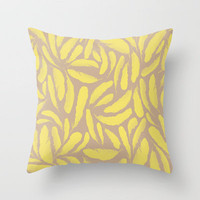 Yellow Feathers Throw Pillow by Skye Zambrana | Society6