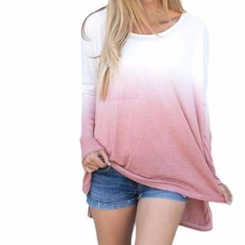 Women's Ombre Mauve Pink to White Long Sleeve Ombre Color T-Shirt Top
