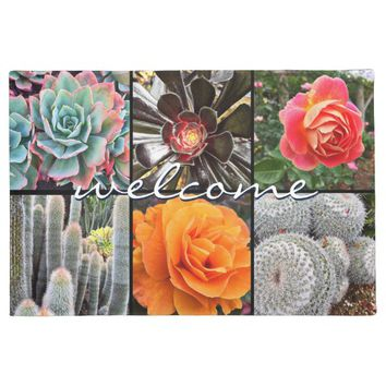 """Welcome"" vivid cacti roses close-up photo doormat"