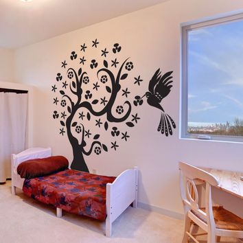 Vinyl Wall Decal Sticker Hummingbird Tree #1006