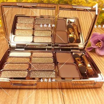 Perfect 8 colors Diamond Bright Colorful Makeup Eye Shadow Super Make Up Flash Glitter Eyeshadow Palette With Brush&Mirror