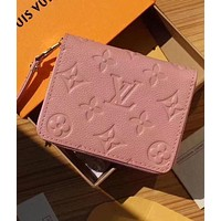 LV Louis Vuitton Fashion Pure Color Print Leather Zipper Wallet Purse Pink I
