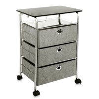 Richards Homewares 3-Drawer Rolling Cart in Grey