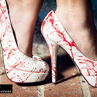 Victim Hand Painted Blood Spatter High Heel - As seen on The TODAY Show Zombie Vampire Halloween Costume