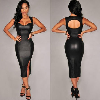 Sexy Black Heart Neck Sleeveless Backless Bodycon Dress For Cocktail/Party/Evening = 1917004676