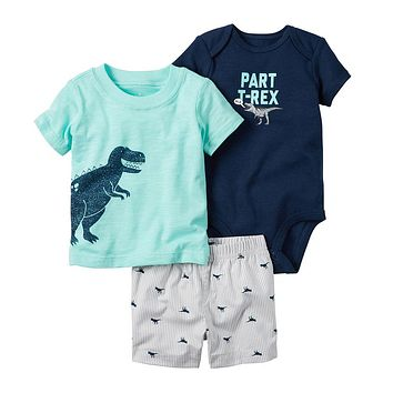 summer newborn clothing o-neck short sleeve Cartoon dinosaur T-shirt+shorts+romper 3 pcs outfits Set baby boy girl clothes