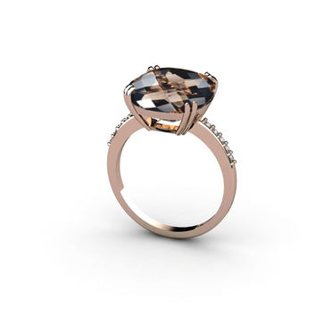 14K Rose Gold Ring with Smoky Quartz and Champagne Diamonds Engagement Ring