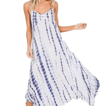 Hailey & Co Blue Tie Tie Dye Maxi Dress