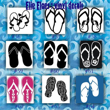 FLIP FLOPS vinyl decals - 56-64 - car window stickers - custom vinyl sticker - wall decal - girly stickers