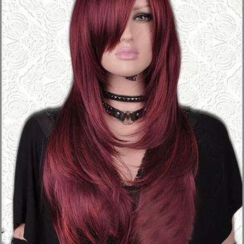 Dark Red Long Straight Mix Sheepskin Halloween Wig