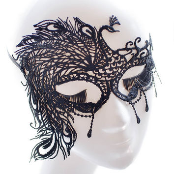 VENETIAN MASQUERADE phoenix tattoo EYE MASK HALLOWEEN PARTY LACE FANCY DRESS