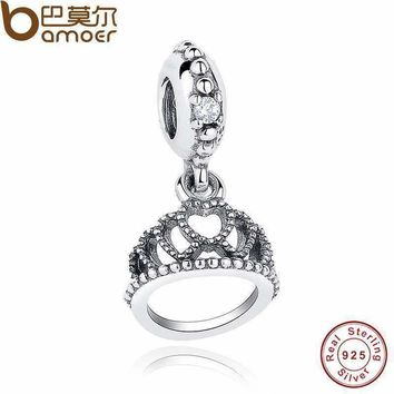 Authentic 925 Sterling Silver Princess Hearts Tiara Dangle Charm Fit Original Bracelet Necklace Clear CZ Jewelry Making PAS150