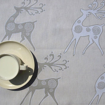 Christmas Tablecloth pale yellow beige with white brown deers , table runner , napkins , curtains , pillows available, great GIFT