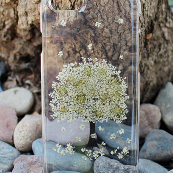 Exquisite Hand Selected Natural Dried Pressed Flowers Handmade iPhone 4 4S 5c 5 5S SE 6 6s /6 6s Plus 7 Clear Case - White Spring Tree Theme