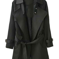 Black Lapel Belted Waist Trench Coat