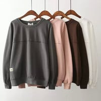 Plain Long Sleeve Loose Sweatshirt