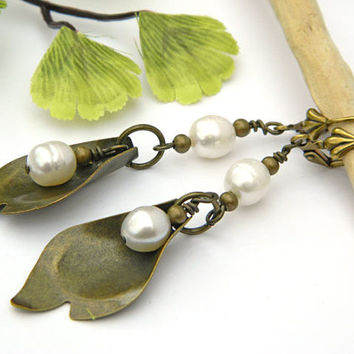 Pearl Earrings, Long Earrings, Boho Earrings, Handmade Earrings, Handcrafted Jewelry, Leaf Earrings, Brass Earrings, Unique Earrings, White