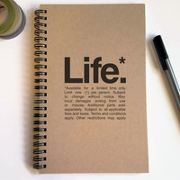 Writing journal, spiral notebook, cute diary, small sketchbook, scrapbook, memory book 5x8 journal - Life, Available for a limited time only