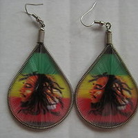 Rasta Bob Marley/Jamaican Lion thread earring