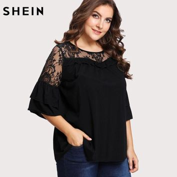 SHEIN Black Plus Size Lace T-shirt Women Floral Lace Yoke Solid Tee Fashion Ruffle Sheer Tiered Layer Spring Autumn Female Tops