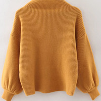 Yellow Ribbed Lantern Sleeve Loose Knitwear