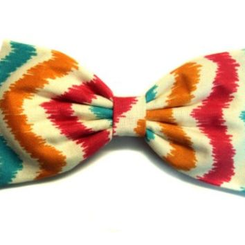 Colorful Tribal / Aztec Chevron Hair Bow (Alligator Clip)