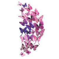 12 pcs set 3D Butterfly Wall Stickers Decoration For Home Decor Festival Party Wedding DIY Vinyl Ornaments