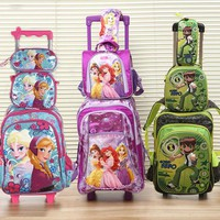 New  Good Quality Princes Cars Children Trolly School Bag Trolley Luggage Backpack  For Boys And Girls