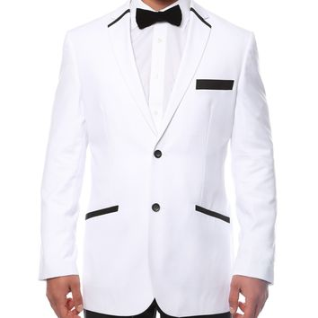 The JerseyBoy White Black Slim Fit Mens Blazer