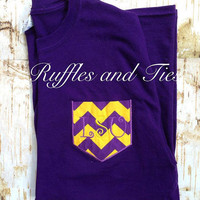 Purple and Gold LSU pocket t shirt