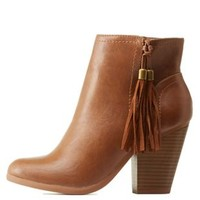 Tan Fringe Tassel Ankle Boots by Charlotte Russe