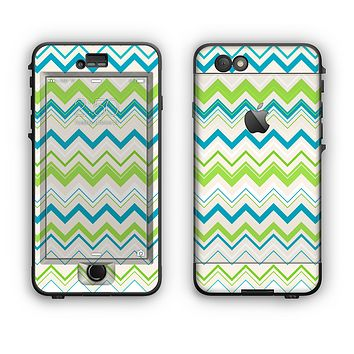 The Green & Blue Leveled Chevron Pattern Apple iPhone 6 Plus LifeProof Nuud Case Skin Set