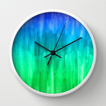 Turquoise, Lime & Indigo Watercolor Abstract Wall Clock by Perrin Le Feuvre