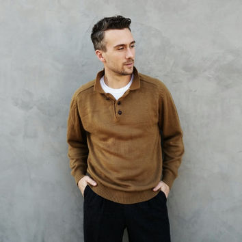 Vintage Mens Button Collar Brown Sweater
