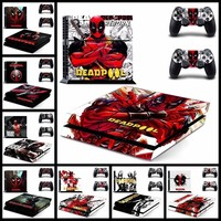 Marvel Deadpool Decal Skin Stickers For Playstation 4 PS4 Console and 2 PCS Stickers For PS4 Controller