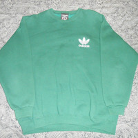 Vtg 90s Adidas Trefoil Green Crewneck Sweatshirt Sz L Made in USA