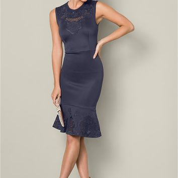 Embroidered Flounce Dress in Navy | VENUS