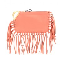 C-Rockee scarab fringed leather clutch