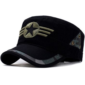 Star and Three Stripe Embroided Military Cap