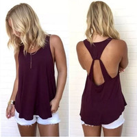 Women's New Summer Fashion Sexy Backless Off Shoulder Tank Top